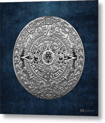 Silver Mayan-aztec Calendar On Blue Metal Print by Serge Averbukh