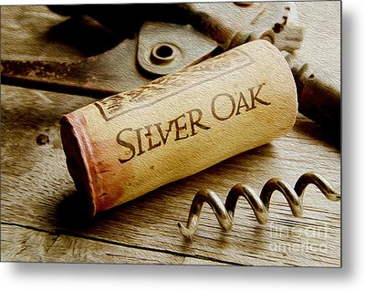 Silver Oak Cork Painting Metal Print by Jon Neidert