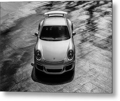 Metal Print featuring the digital art Silver Porsche 911 Gt3 by Douglas Pittman