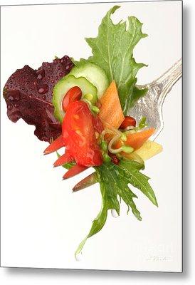 Silver Salad Fork Metal Print by Iris Richardson