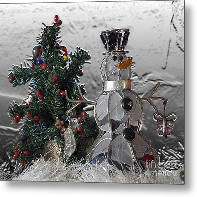 Silver Snowman With Christmas Tree Metal Print