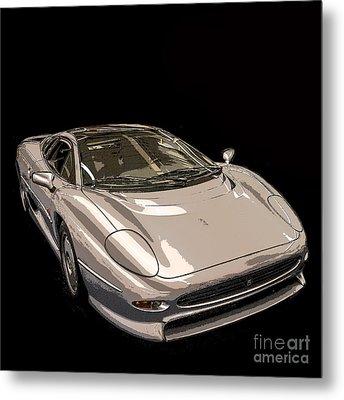 Silver Sports Car Metal Print by Edward Fielding