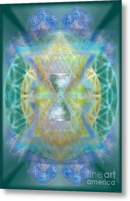 Silver Torquoise Chalicell Ring Flower Of Life Matrix Metal Print by Christopher Pringer