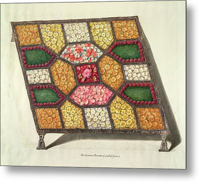 Silver Tray With Flowers Metal Print