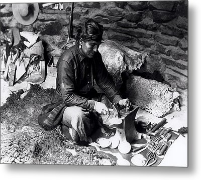 Silversmith At Work Metal Print by William J Carpenter