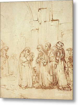 Simeon And Jesus In The Temple Metal Print by Rembrandt Harmenszoon van Rijn