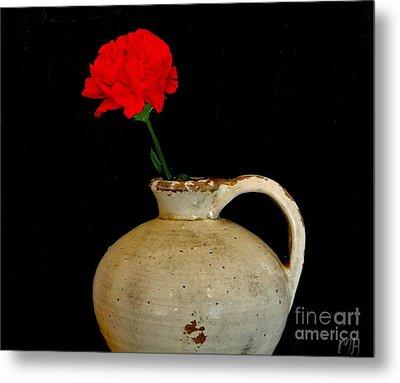 Simple Carnation In Pottery Metal Print by Marsha Heiken