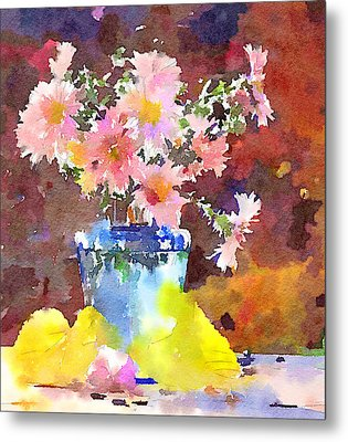 Simple Flowers And Leaves Metal Print by Yury Malkov
