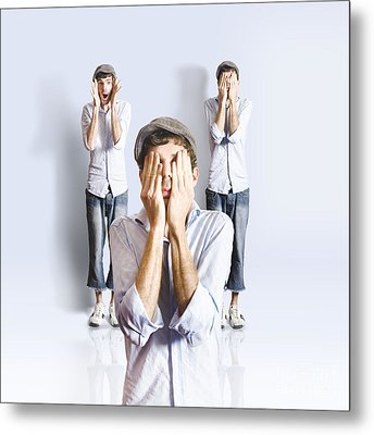 Simple Simon Playing Peek A Boo Metal Print