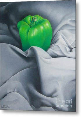 Metal Print featuring the painting Simply Green by Pamela Clements
