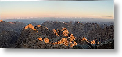 Metal Print featuring the pyrography Sinai Mountains Just After Sunrise by Julis Simo