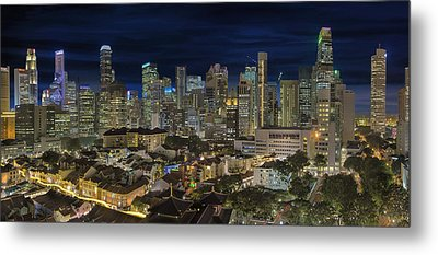 Singapore Central Business District Skyline And Chinatown At Dus Metal Print by David Gn