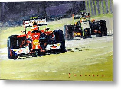 2014 Singapore Gp Raikkonen Scuderia Ferrari F14 T Perez Sahara Force India F1  Metal Print by Yuriy Shevchuk