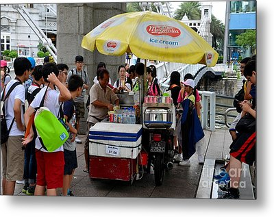 Singapore Ice Cream Man And Bicycle Swamped By Students Metal Print by Imran Ahmed