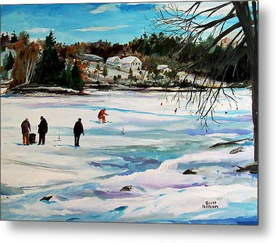 Singeltary Lake Ice Fishing Metal Print