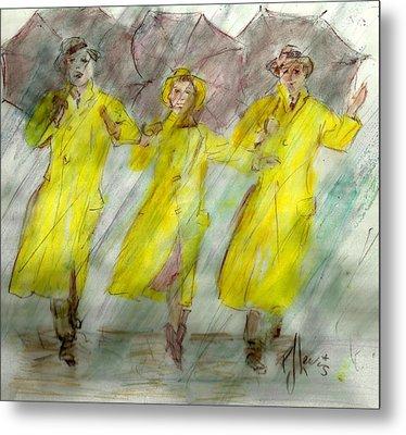 Singing In The Rain Metal Print by P J Lewis