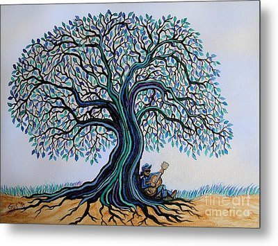 Singing Under The Blues Tree Metal Print