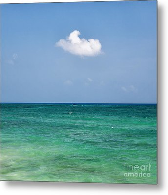 Single Cloud Over The Caribbean Metal Print