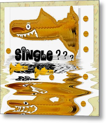Single Shark Pop Art Metal Print by Pepita Selles