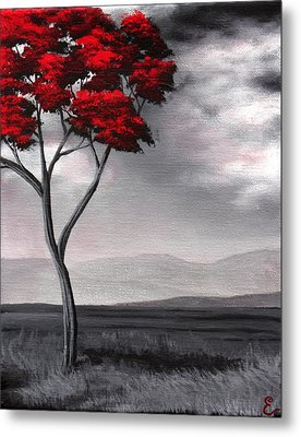 Singled Out Red Metal Print by Erin Scott