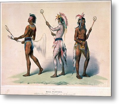 Sioux Lacrosse Players Metal Print by Granger