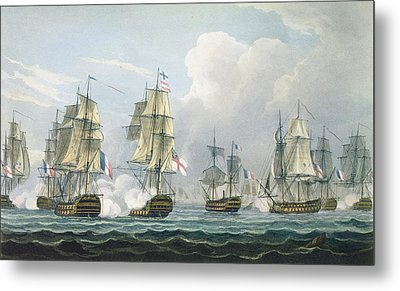 Sir Richard Strachans Action After The Battle Of Trafalgar Metal Print by Thomas Whitcombe