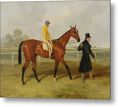 Sir Tatton Sykes Leading In The Horse Sir Tatton Sykes With William Scott Up Metal Print by Harry Hall