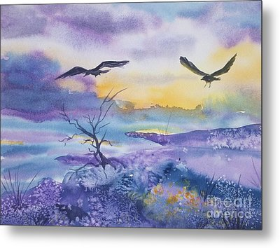 Metal Print featuring the painting Sister Ravens by Ellen Levinson