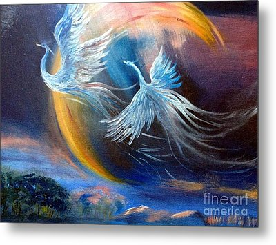 Sisters-birds Of Paradise Metal Print by Irene Pomirchy