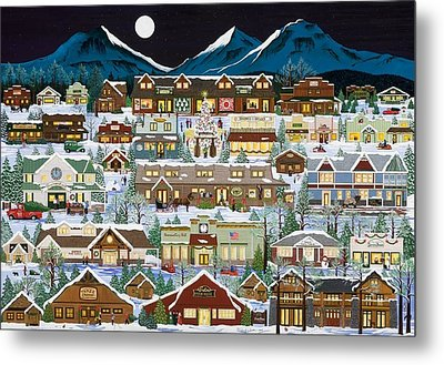 The Village Under The Cascades Metal Print