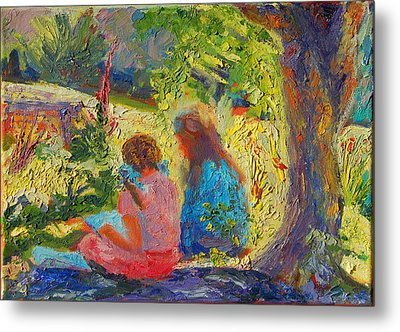 Metal Print featuring the painting Sisters Reading Under Oak Tree by Thomas Bertram POOLE