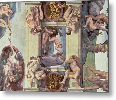 Sistine Chapel Ceiling 1508-12 The Creation Of Eve, 1510 Fresco Post Restoration Metal Print by Michelangelo Buonarroti