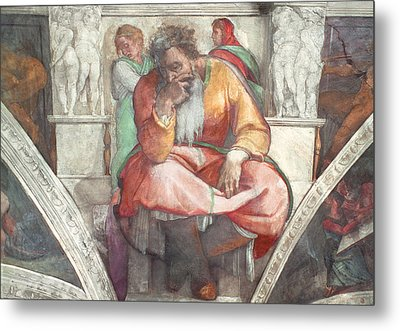 Sistine Chapel Ceiling The Prophet Jeremiah Pre Resoration Metal Print by Michelangelo Buonarroti