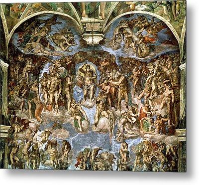 Sistine Chapel The Last Judgement, 1538-41 Fresco Pre-restoration Metal Print by Michelangelo Buonarroti