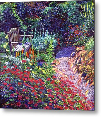 Sitting Amoung The Flowers Metal Print by David Lloyd Glover