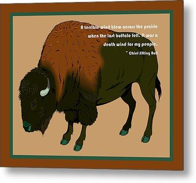 Sitting Bull Buffalo Metal Print by Digital Creation