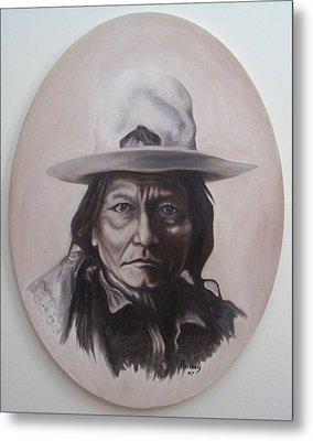 Sitting Bull Metal Print by Michael  TMAD Finney