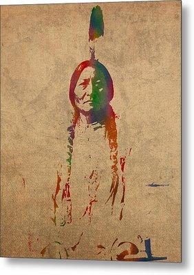 Sitting Bull Watercolor Portrait On Worn Distressed Canvas Metal Print