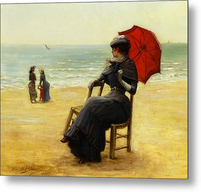 Sitting By The Sea Metal Print by Edouard Bisson