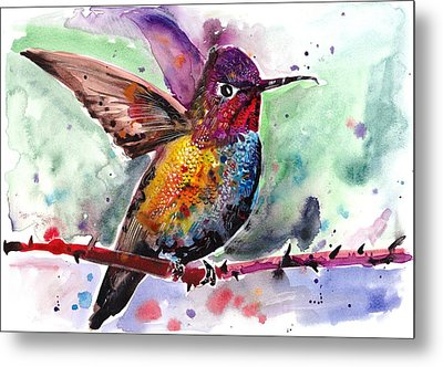 Sitting Hummingbird Watercolor Metal Print by Tiberiu Soos