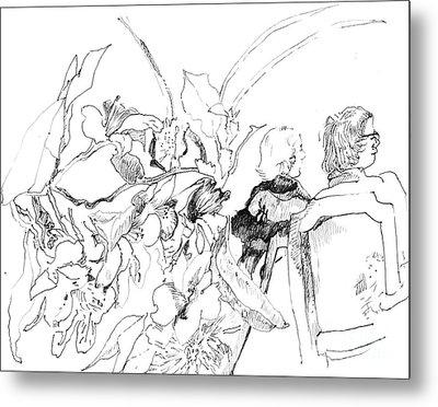 Sitting In The Garden Metal Print by Vannucci Fine Art