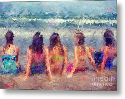 Sitting In The Surf Metal Print