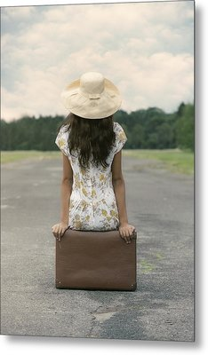 Sitting On A Suitcase Metal Print