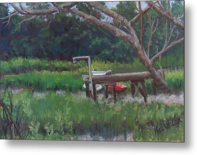 Sitting On The Dock Metal Print by Denise  Cox