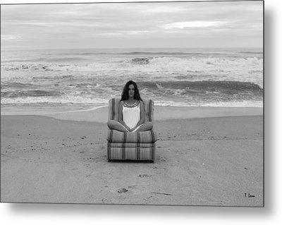 Sittinng On The Beach Metal Print by Thomas Leon