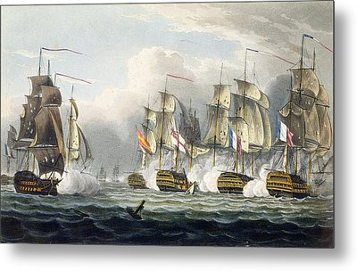 Situation Of The Hms Bellerophon Metal Print by Thomas Whitcombe