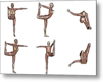 Six Different Views Of Dancer Yoga Pose Metal Print by Elena Duvernay