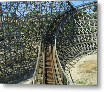 Six Flags America - Roar Roller Coaster - 12125 Metal Print by DC Photographer