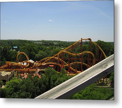 Six Flags America - Wild One Roller Coaster - 121211 Metal Print by DC Photographer
