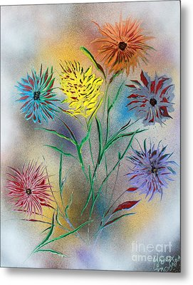 Metal Print featuring the painting Six Flowers by Greg Moores